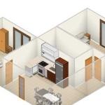 3D pogled apartmaja št. 3